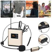 Rechargeable UHF Wireless Microphone Clip On Headset Mic Wireless Microphone System for Teacher Tour Guide Voice Amplifier