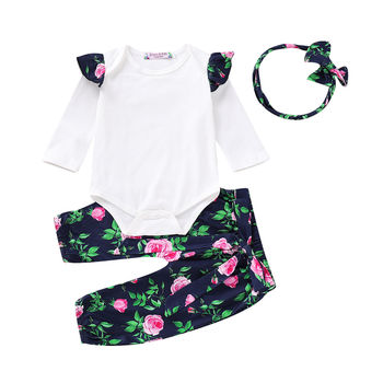 Newborn Kids Baby Girl Floral Print Clothes Fly Sleeve Tops Romper Pants Tracksuit Outfits 2019 Spring  Clothes
