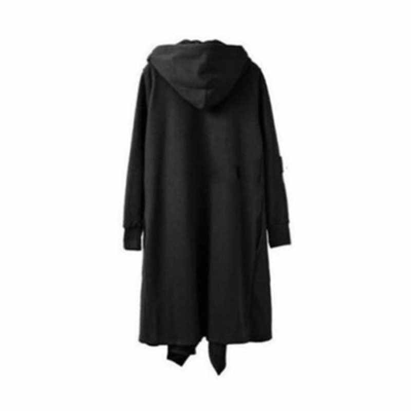 Gothic men hoodies preto recortado topo manga longa rua casual moletom moda plus size S-6XL capa com capuz