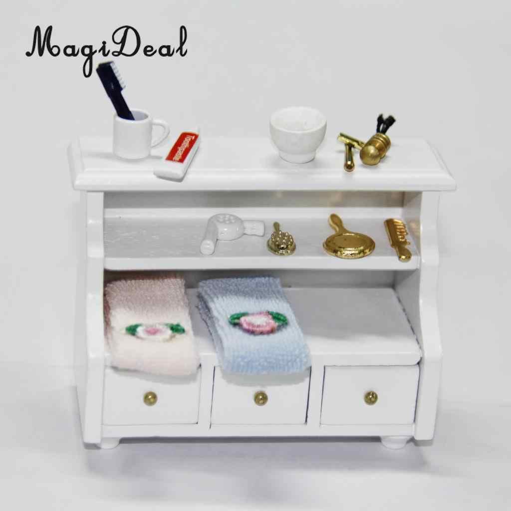 MagiDeal 3 Pz/set 1/12 Dollhouse Bagno In Miniatura Spazzolino Da Denti Dentifricio Tazza di Bambini Giochi Di Imitazione Giocattolo