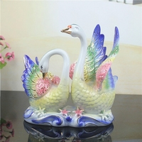 Ceramic Home Decorations Creative Porcelain Animal Ornaments Swan Figurine Modern Home Decors Crafts Ceramic Wedding Figurine