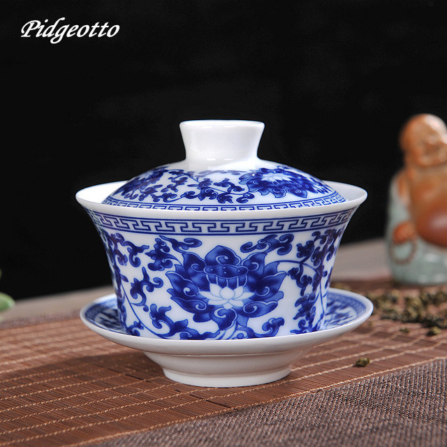 Chinese Kung Fu Tea Set Gaiwan Blue and White Porcelain Tea Tureen Ceramic Tea Bowl Health Teacup Cup and Saucer Master Cups