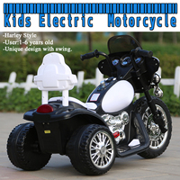 Kids Electric Motorcycle 3 Anti Slip Wheels for Harley Style 1 6 Years Black & White New American Plug Style Child Motorbike Toy