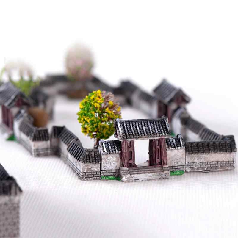 Chinese Ancient Gate Wall Resin Miniatures Micro Landscape Ornaments Retro Figurines Mini Old City Gate Doll House DIY Craft