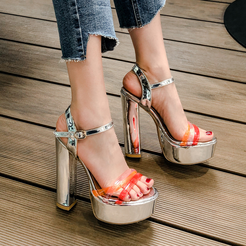 2019 New Sandals Woman Square Heels in Sliver Pink Mixed Color and Platform High Heels with Ankle Buckle Strap For Casual2019 New Sandals Woman Square Heels in Sliver Pink Mixed Color and Platform High Heels with Ankle Buckle Strap For Casual