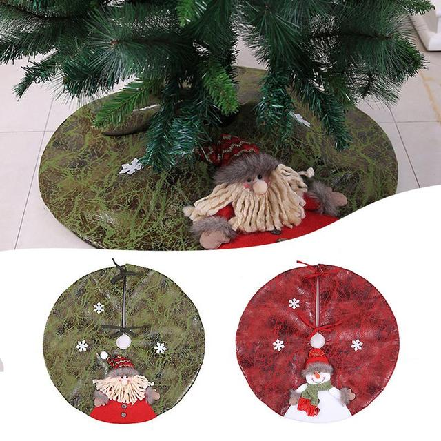 US $11.1  Leather Christmas Tree Skirt Carpet Party Ornaments Christmas on