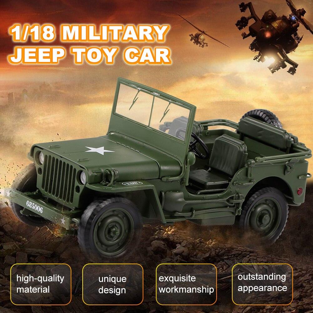 1/18 Militaire Jeep Speelgoed Auto Militaire Tactiek Auto Model Willis Militaire Voertuigen Legering Model Auto Voor Kinderen Speelgoed Geschenken
