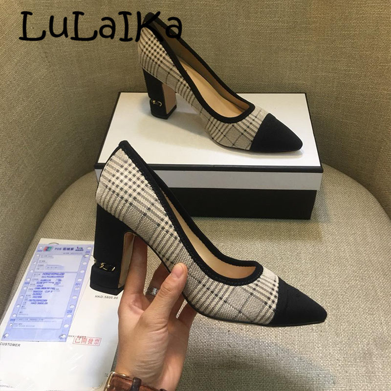 2018 Winter Brand Black Pointed Toe Lady Pumps Sexy Metal Heel Elegant Lattice Woman Wedding Party High Heel Shoes 8cm2018 Winter Brand Black Pointed Toe Lady Pumps Sexy Metal Heel Elegant Lattice Woman Wedding Party High Heel Shoes 8cm