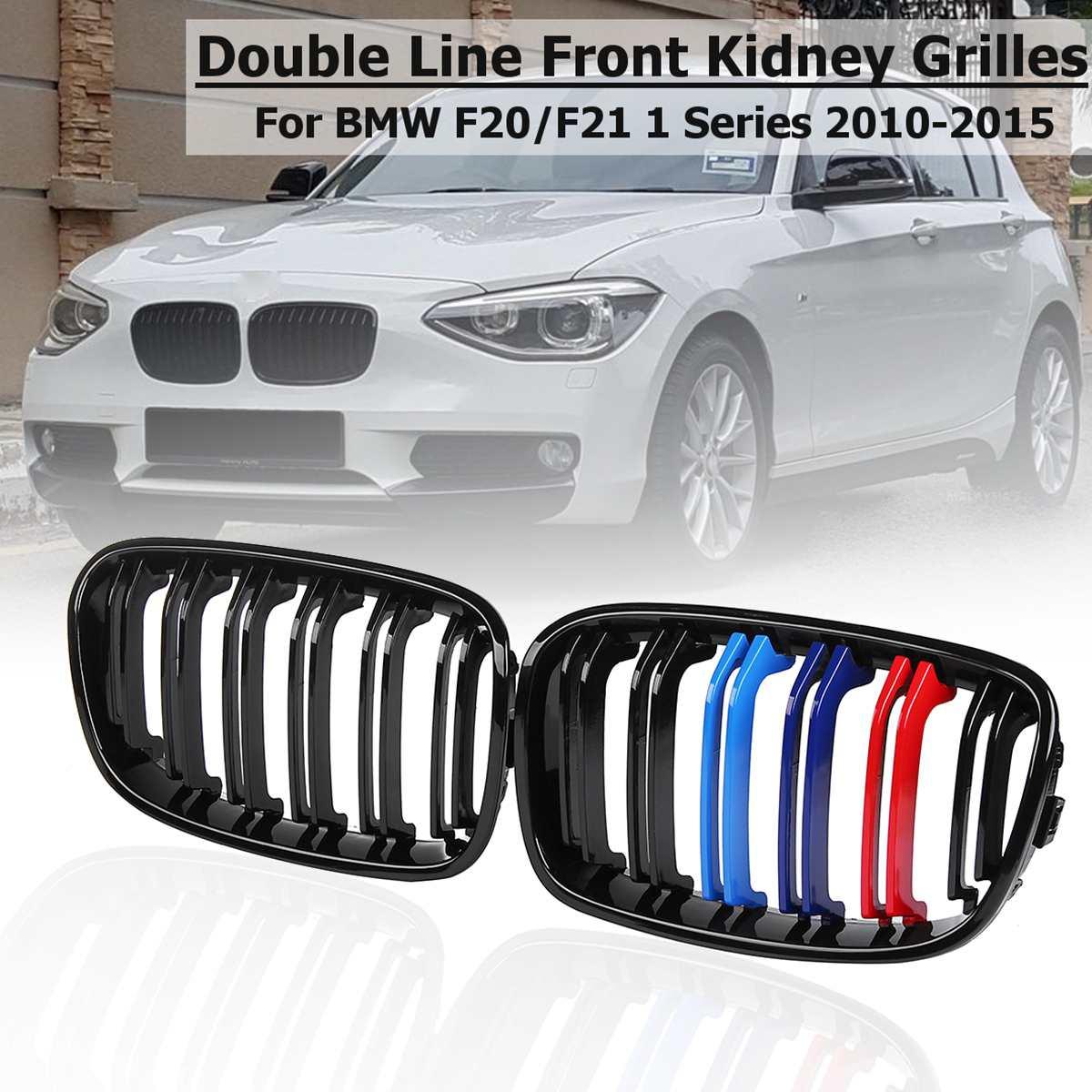 Pour BMW F20 F21 1 série 2010 11 12 13 2014 1 paire voiture Gloss noir m-color 2 lattes ligne avant Center rein Grills Racing Grill