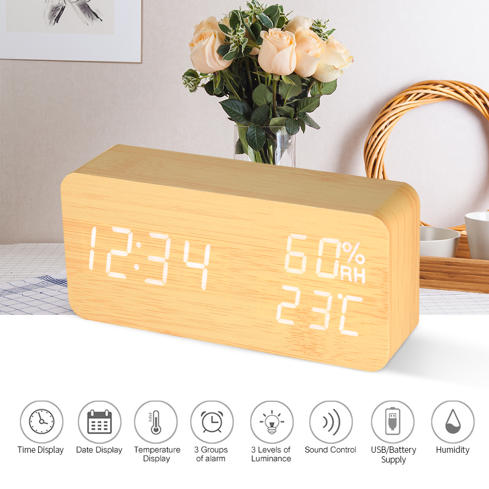 LED Digital Alarm Clock Wooden Sound Control Alarm Clock 