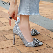 Fashion Shining Crystal Designer Woman Pumps Elegant Pointed Toe Fine Heel  Party Wedding Lady High Heel 14c90861b1ee