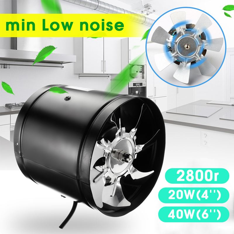 4/6'' Window Dusted Fans Kitchen Bathrom Air Vent Inline Pipe Duct Fan Home Vents Ventilation Booster Blower Exhaust Fan