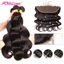 Body Wave Bundles With Closure Human Hair Bundles With Closure Frontal Brazilian Hair Weave Bundles With Closure Mslynn Non Remy(China)