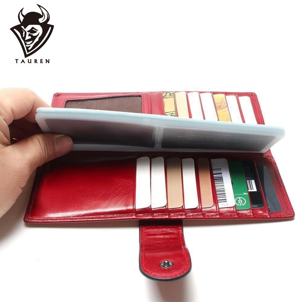TAUREN Business Card Hold 100% eerste laag echt koeienhuid olie Wax lederen ID-houder voor kaart Vrouwen Credit Case portemonnee portemonnee tas