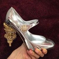 Новые модные на высоком каблуке кожа круглый носок вечерние Show женская обувь Гладиатор шпильках туфли сладкий женская свадебная обувь