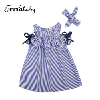 Summer Off Shoulder Dress For Girls Cute Newborn Baby Girls Short Sleeve Dress Princess Party Dresses 2018 New Striped Vestidos girls off shoulder flounce sleeve striped top