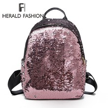Herald Fashion Mini Backpack Women School Bag For Teenage Girls  Backpacks Female Travel Sequins Mochila Bolsa feminina Bagpack