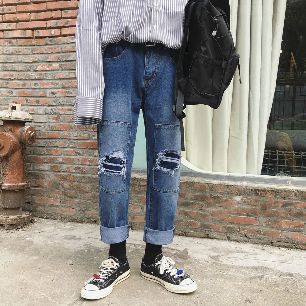 2019 Men 39 s Patch Decorate Baggy Homme Jeans men Fashion Trend Blue Color Casual Pants Loose High quality Trousers clothes in Jeans from Men 39 s Clothing
