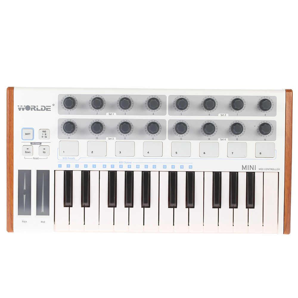 Worlde במיוחד נייד מיני מקצועי 25-מפתח USB MIDI תוף כרית ומקלדת בקר