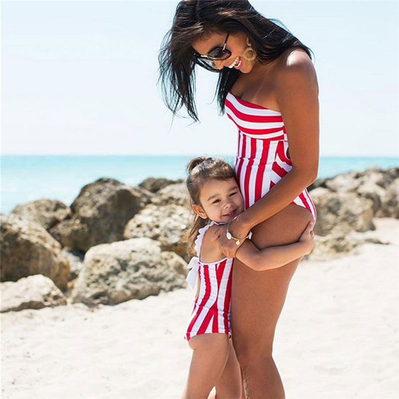 Women Girl Family Swimsuit Swimwear One-piece Bikini Bathing Suit Hot Red White Stripe One piece Swimwear Bow tie Beachwear