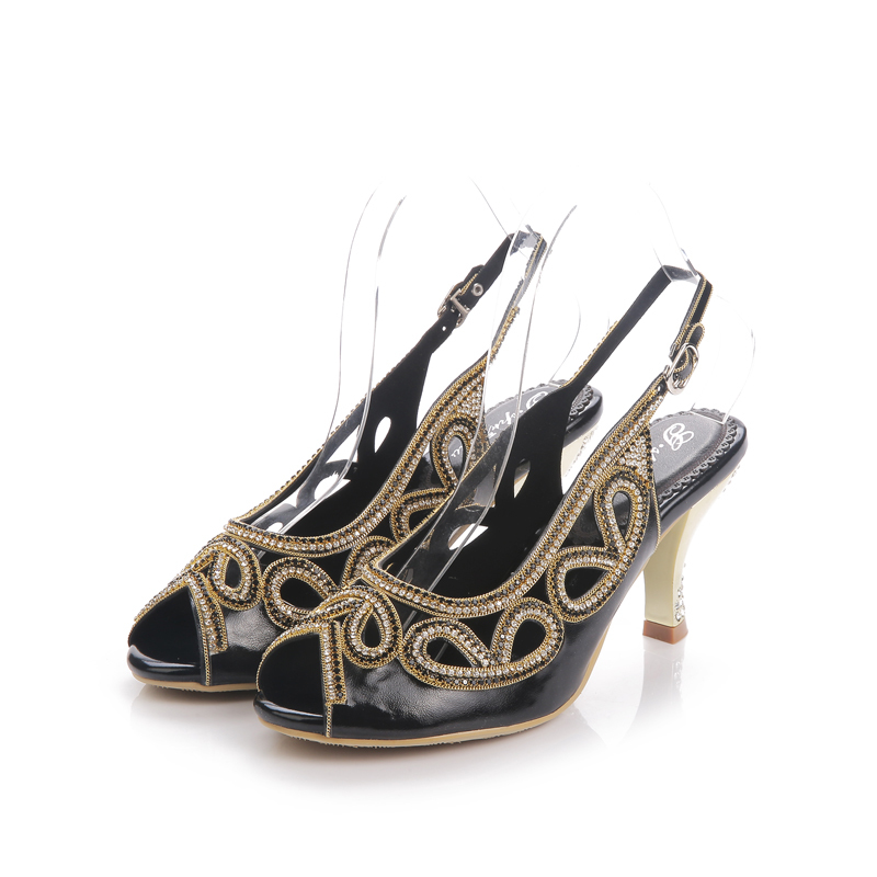6b01c984ac99 2018 Women Wedge Sandals Bowtie Flower Open Toe Sandal Gold Rhinestone  Bridal Wedding Shoes Lady Formal Dress Shoes-in High Heels from Shoes on ...