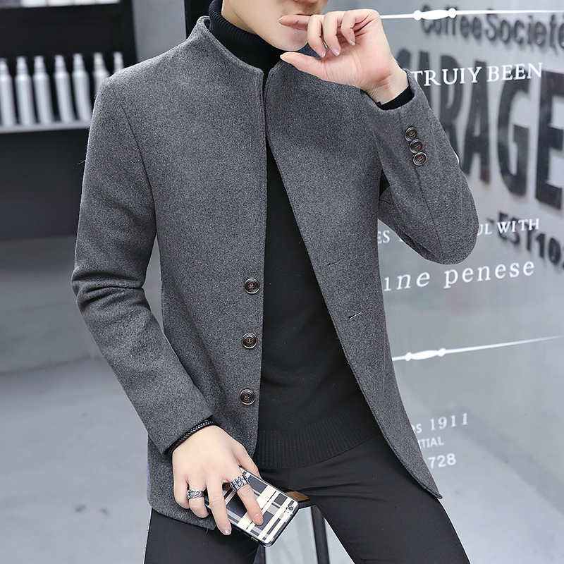 2018 men's autumn and winter new   trench   coat Korean Slim in the long section coat business simple collar coat clothes tide men