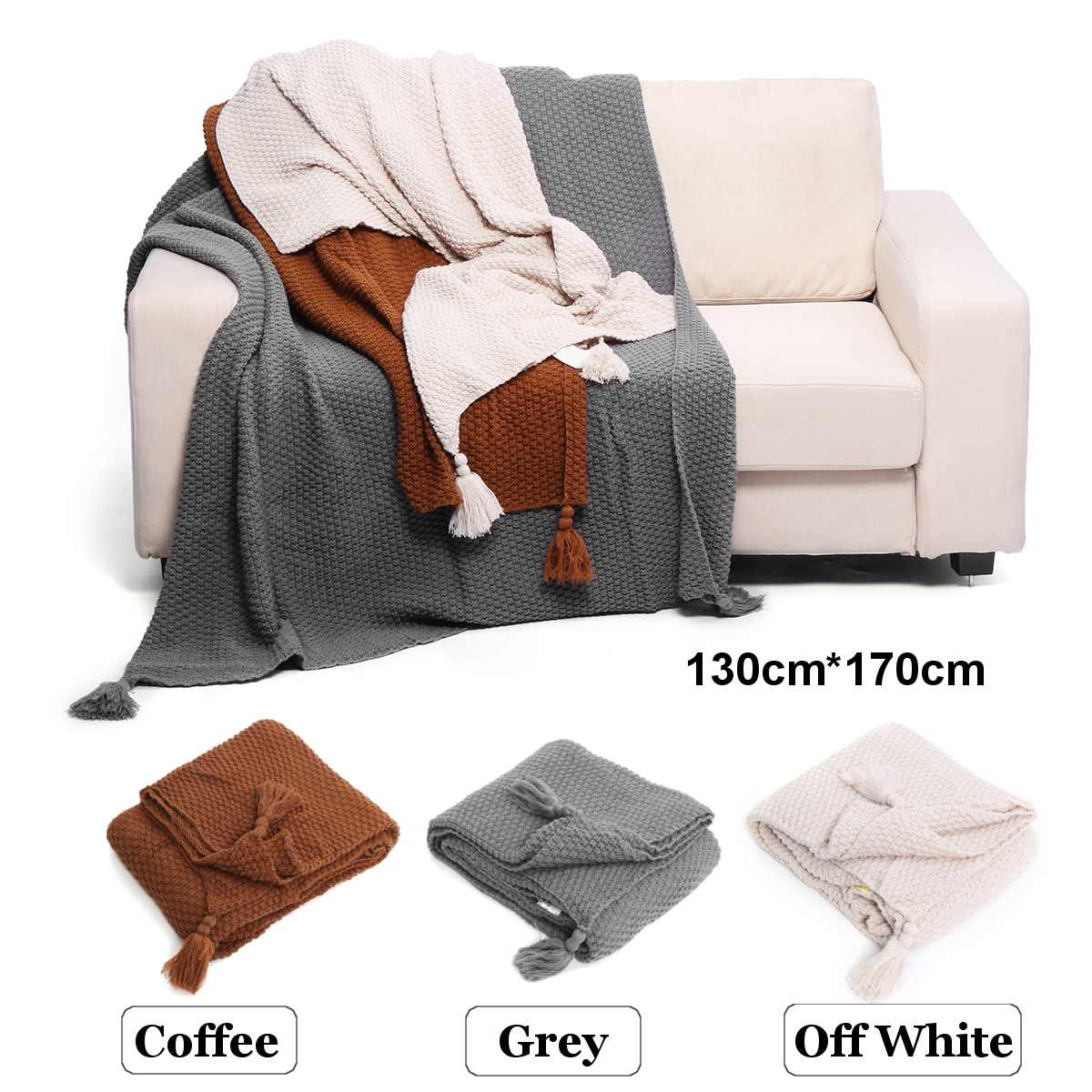 Solid Color Air Conditioning Travel Blanket With Tassel Knitted Blanket for Bed Sofa Home Textile Throw Blanket 130x170cm