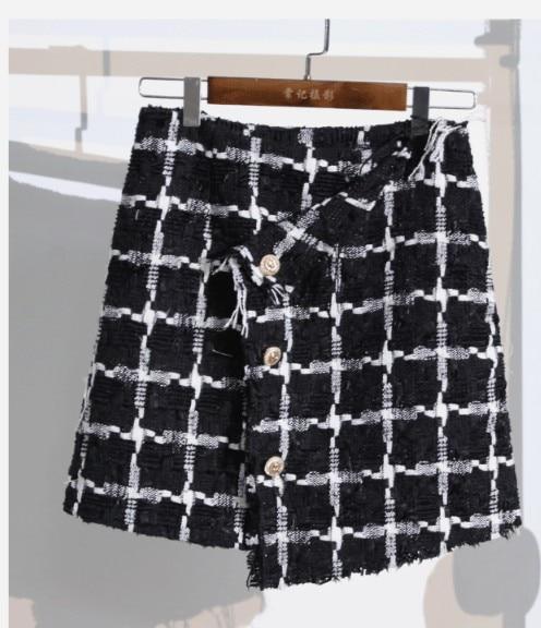 2018 Veste Laine Costume En Plaid Jupe Femmes Nouveau Pièces Rangée Hiver Costumes Et Épaississent coat Double Dames Noir coat Skirt Deux De Coat Blanc Automne rnrPwq6xA
