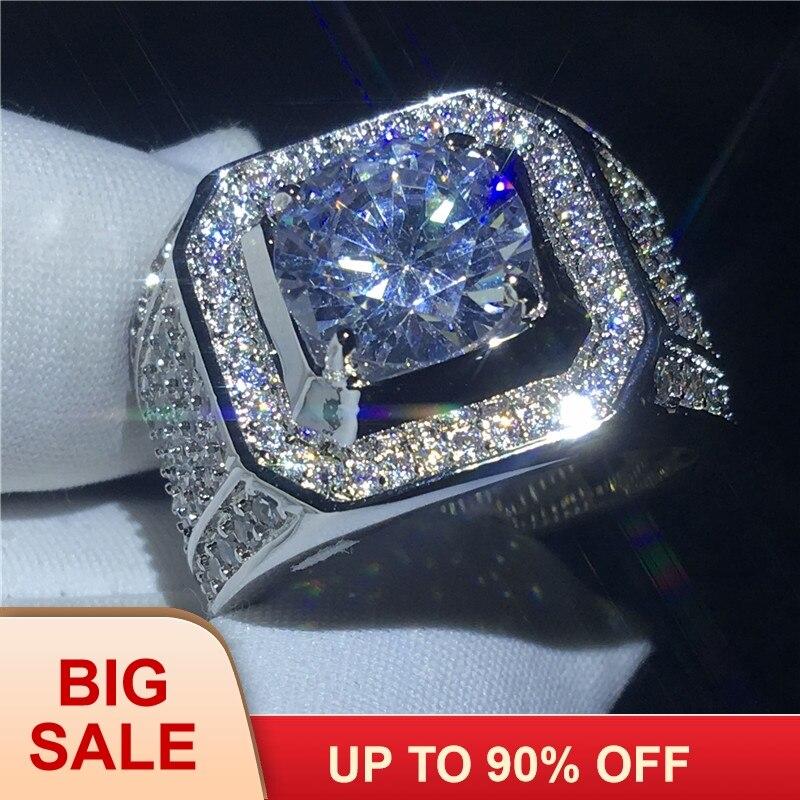 Beau solitaire bague mâle 10mm AAAAA Zircon Cz 925 En argent Sterling de Fiançailles bague de mariage anneau pour les hommes bijoux de doigt