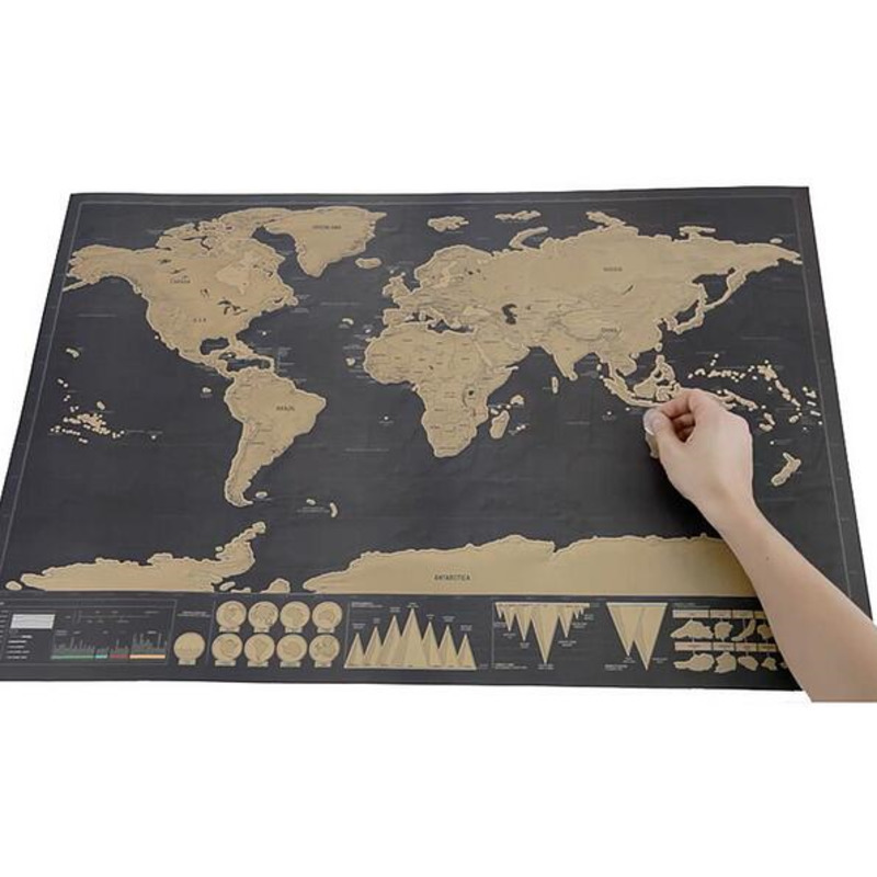 1piece deluxe black scratch off world map 82.5 x 59.4cm as room decoration wall stickers