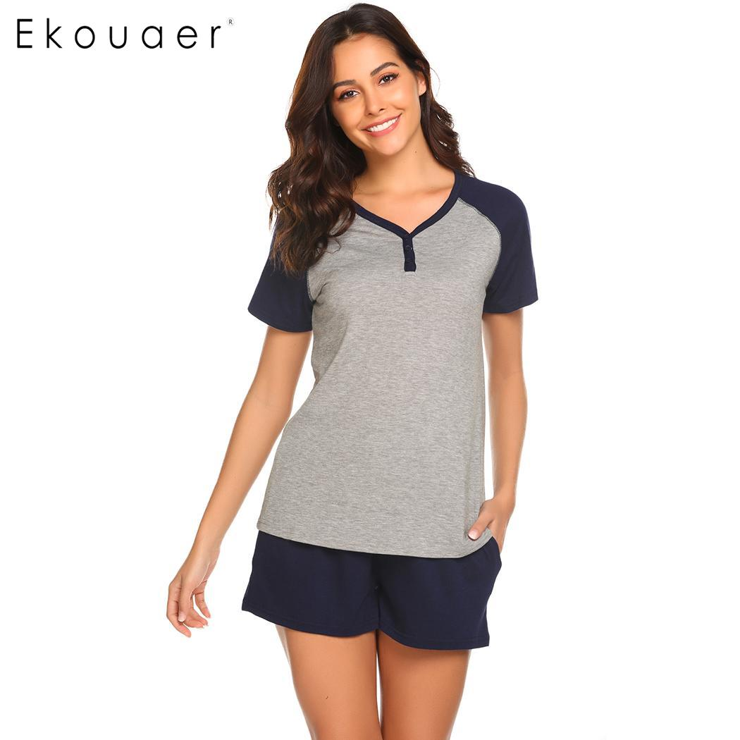 Ekouaer Women Nightwear Pajamas Set Contrast Color Casual Short Sleeve Button Homewear Loose Shorts Pajama Set Sleepwear Clothes