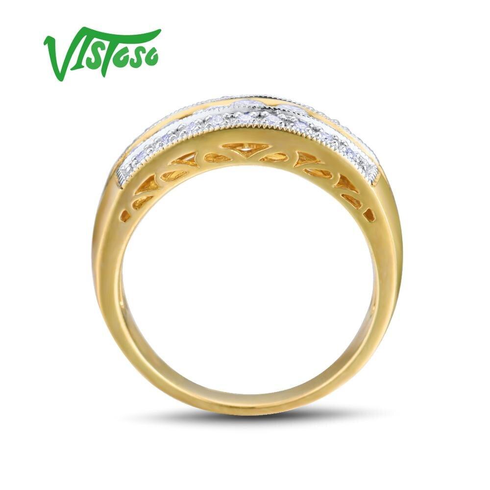 VISTOSO złote pierścienie dla kobiet oryginalne 14K 585 pierścionek z żółtego złota musujące diament luksusowe zaręczyny Wedding Band Fine Jewelry w Pierścionki od Biżuteria i akcesoria na  Grupa 3