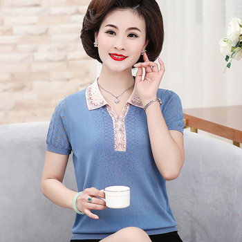 Knitted Sweater Autumn Women Elegant Turn-down Collar Short Sleeve Loose Sweater Pullovers Ladies Solid Color Thin Sweaters Tops elegant knitted women short sleeve blouse turn down collar imitation pearl ruffles design shirt tops