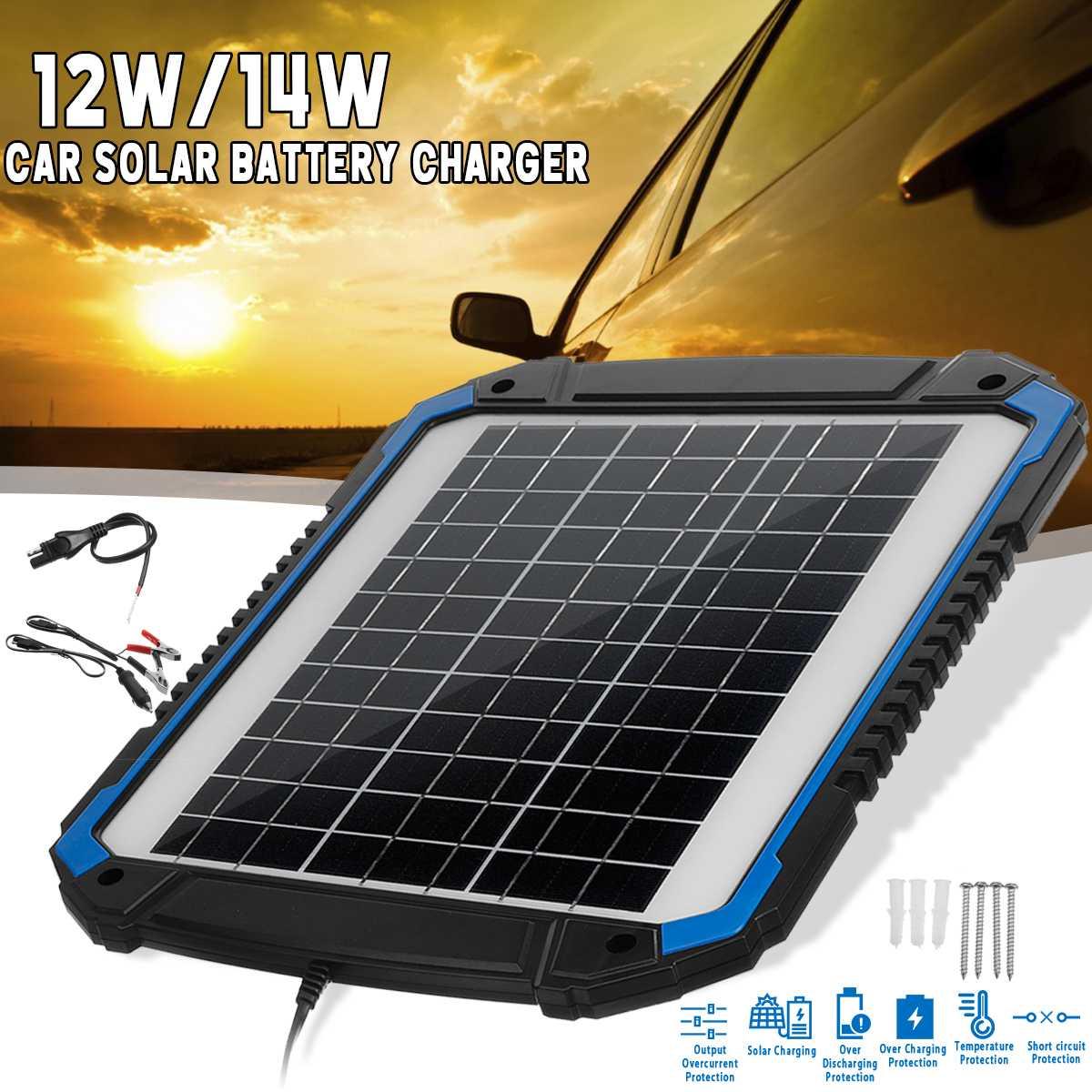Panneau solaire Trickle chargeur de batterie mainteneur 12/14 W pour voiture véhicule charge multifonction Protection 3m-panneau longueur de câble