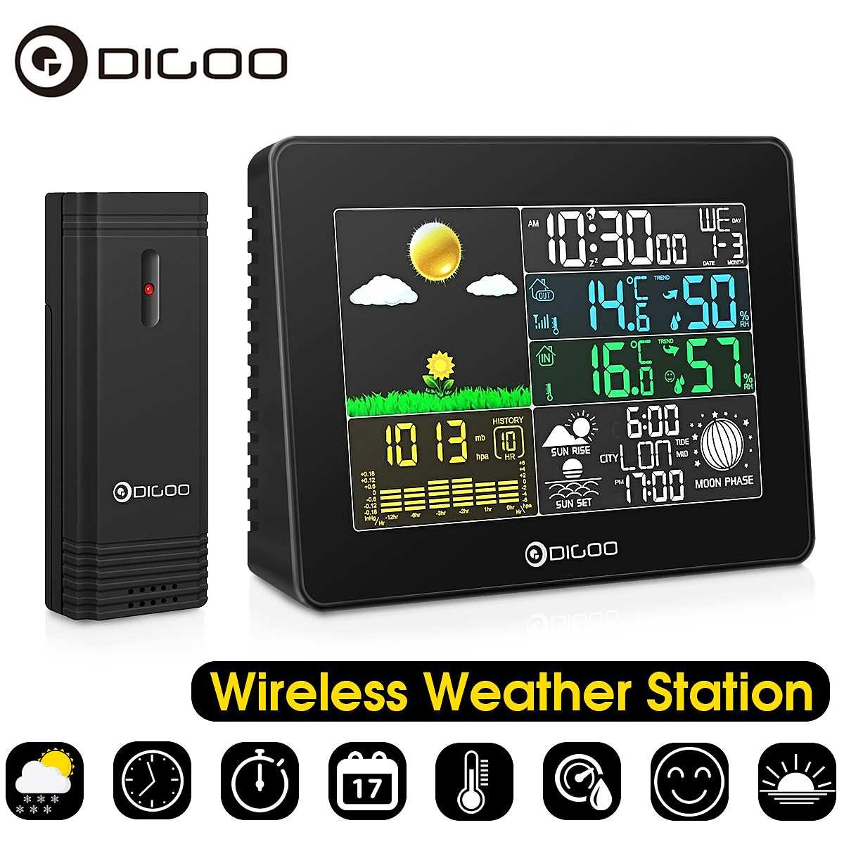 Digoo Wireless Big Screen Colour Digital Outdoor Temperature Humidity Thermometer Hygrometer Weather Forecast Sensor Alarm Clock