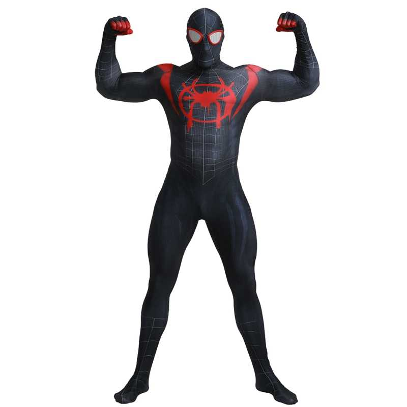 Adulto Cinematográfico Maravilha Superhero Universos Paralelos Mal Black Spiderman Zentai Suit Cosplay Halloween Costume