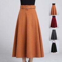 #0202 Winter Ladies Wool Skirts A line Midi Skirt With Belt Elegant High Waist Long Woolen Skirts Women Fashion Red/Grey/Black