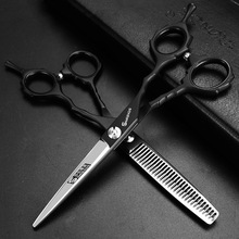 Barber makas hairdresser scissors kit professional 9cr13 6.0 440c barbershop hairdressing cutting&thinning shears cliper makas