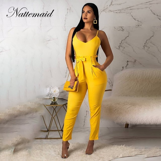 2f8116a060be NATTEMAID Bow Regular Elegant Jumpsuit Sleeveless Rompers Womens Jumpsuit  Summer Pockets Romper Office Ladies Going Out 2019