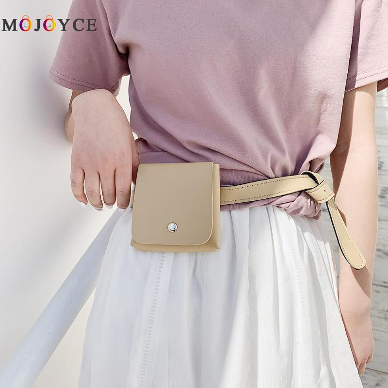 Solid Color Flap Small Fashion Waist Bag For Women Super Mini PU Leather Fanny Pack Female Belt Bag PU Leather Materia, Durable