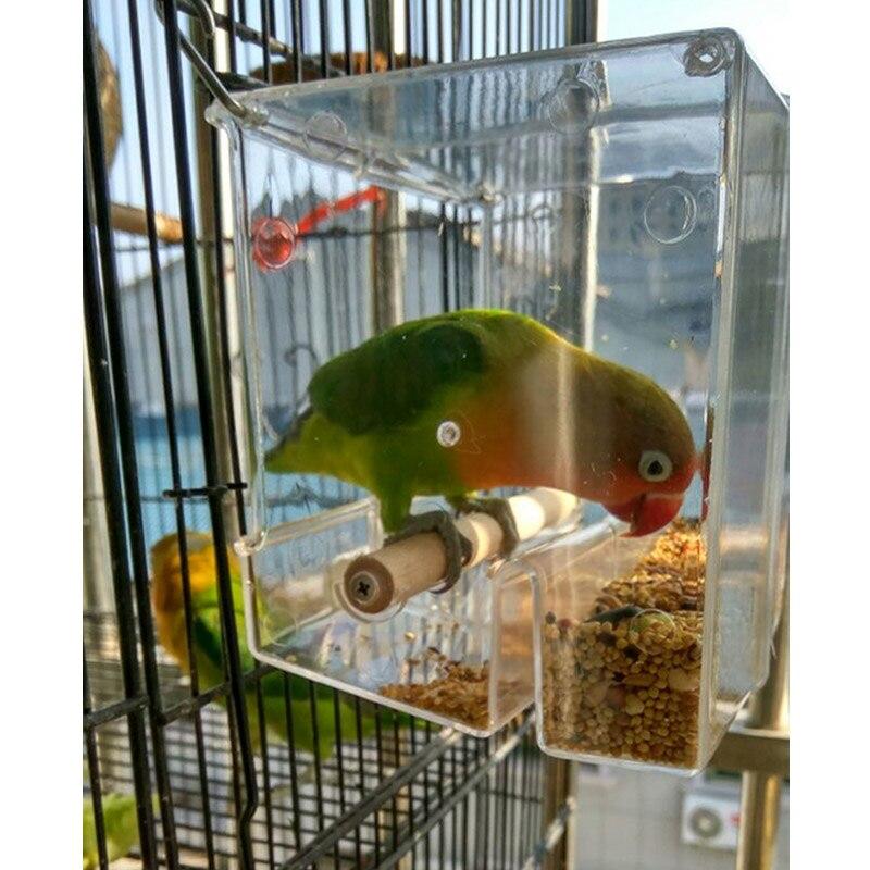 Caitec caixa de alimentação à prova de derramamento, recipiente para alimentos, papagaio, resistente à mordida, adequado para pequenos pássaros, papagaio pequeno
