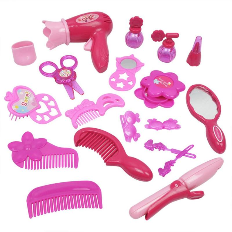 Pretend Play Dressing Tools Toys For Girls Girls Beauty Cosmetic Toy Salon Hair Dryer Lipstick Dressing Tool Set With Hand Case Kids Toys Set Punctual Timing