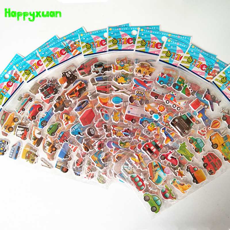 Happyxuan 12 Sheets Cartoon Car Puffy Stickers 3D Transport Tool Truck Plane Kids Early Learning School Teacher Reward Toy