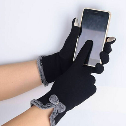 Women Gloves New Solid Winter Warm Thick Casual Soft Leather Touch Screen Gloves Fleece Women Gloves