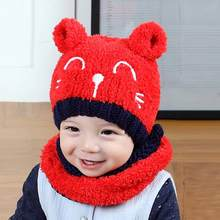 Unisex Knitted Plush Winter Warm Stretchy Kit Cat-ears Soft Hats Comfort Hand wash only. Hats with Scarf(China)