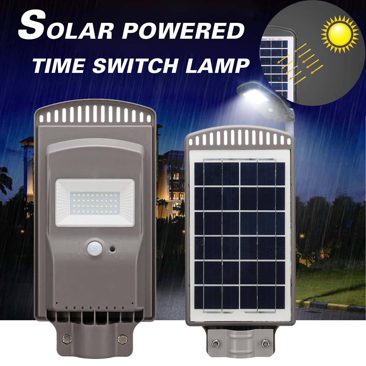 LED Solar Street Light 20W Solar Panel All-in-1 Intelligent Time Switch Waterproof IP67 Wall Lighting Lamp for Outdoor Garden high lumen 60w all in one solar street light south africa for commerical lighting residential lighting