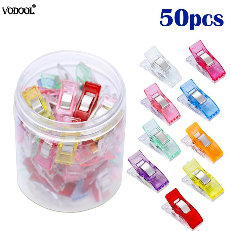 50pcs/lot Multi Quilting Patchwork Sewing Clips Photo Plastic Hemming Clip DIY Fixed Clip Sewing Office Tools Stationery