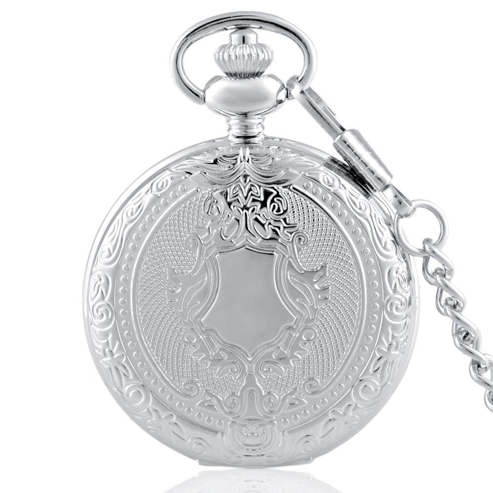 IBEINA Silver And Bronze Theme Full Hunter Quartz Engraved Fob Retro Pendant Pocket Watch Chain Gift