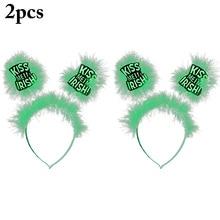2 Pcs Fashion PVC Clover St. Pats Headband Irish Festival Carnival Party Ball Head Buckle Decoration Supplies