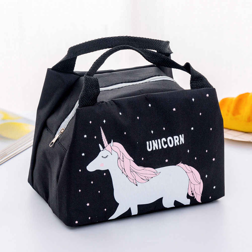 2019 Hot Women Girls Portable Insulated Lunch Bags Cute Animals Picnic Bags Canvas Thermal Food Tote